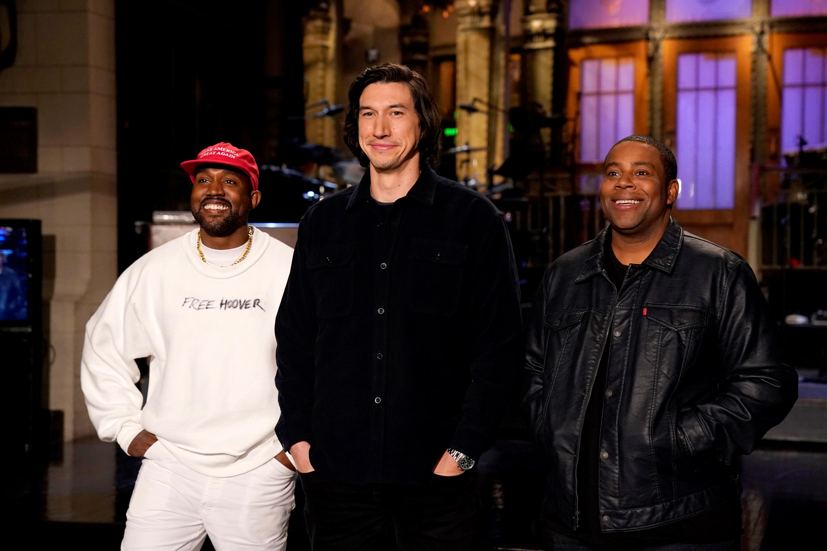 Kanye West, Adam Driver and Kenan Thompson