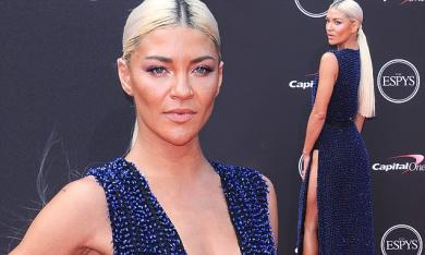 Jessica Szohr stuns in plunging navy beaded dress with platinum blonde tresses at ESPY Awards