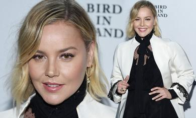 Abbie Cornish sports a monochrome outfit at Heath Ledger event